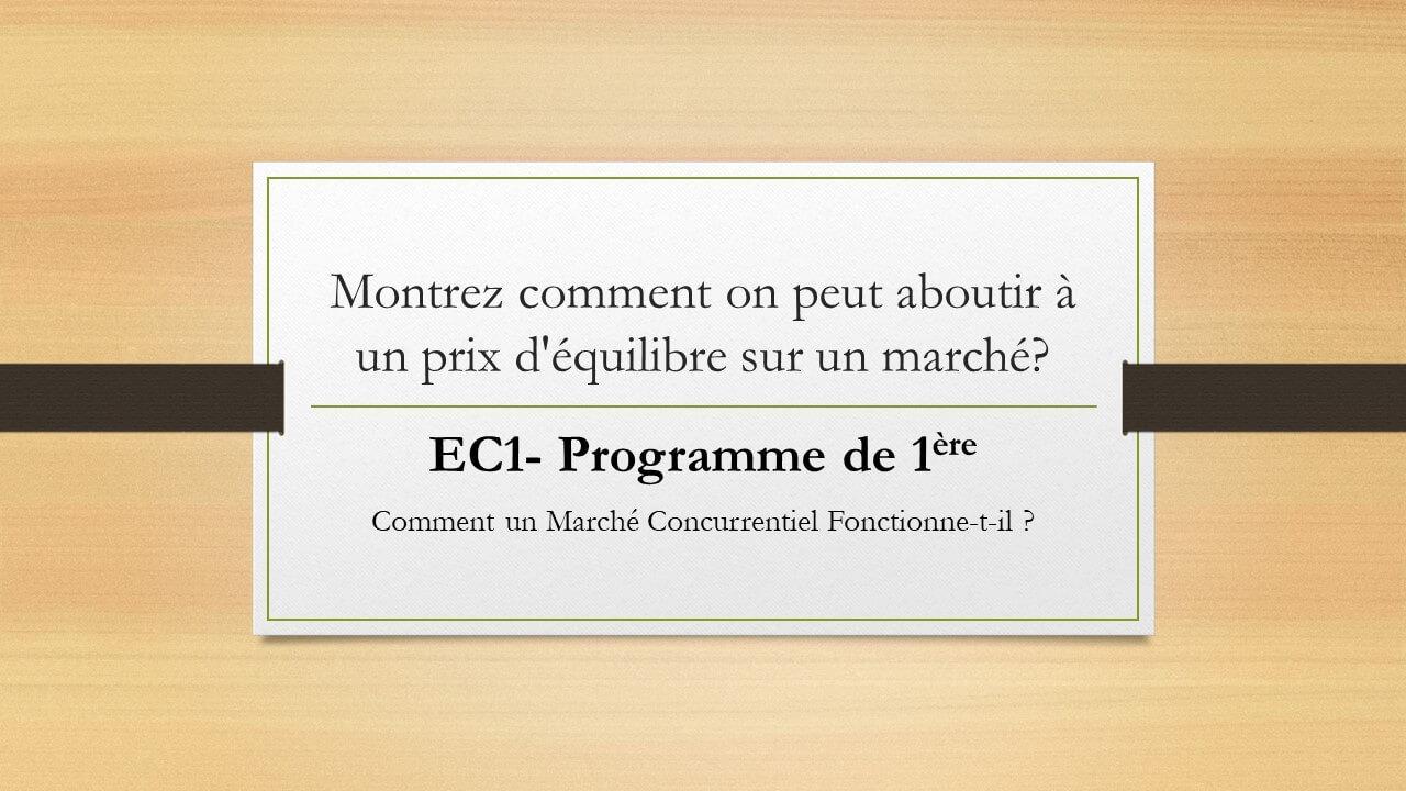 EC1 Marché Concurentiel SES 1ère
