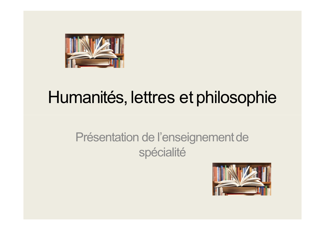 Spécialité : Humanité, lettres et philosophie