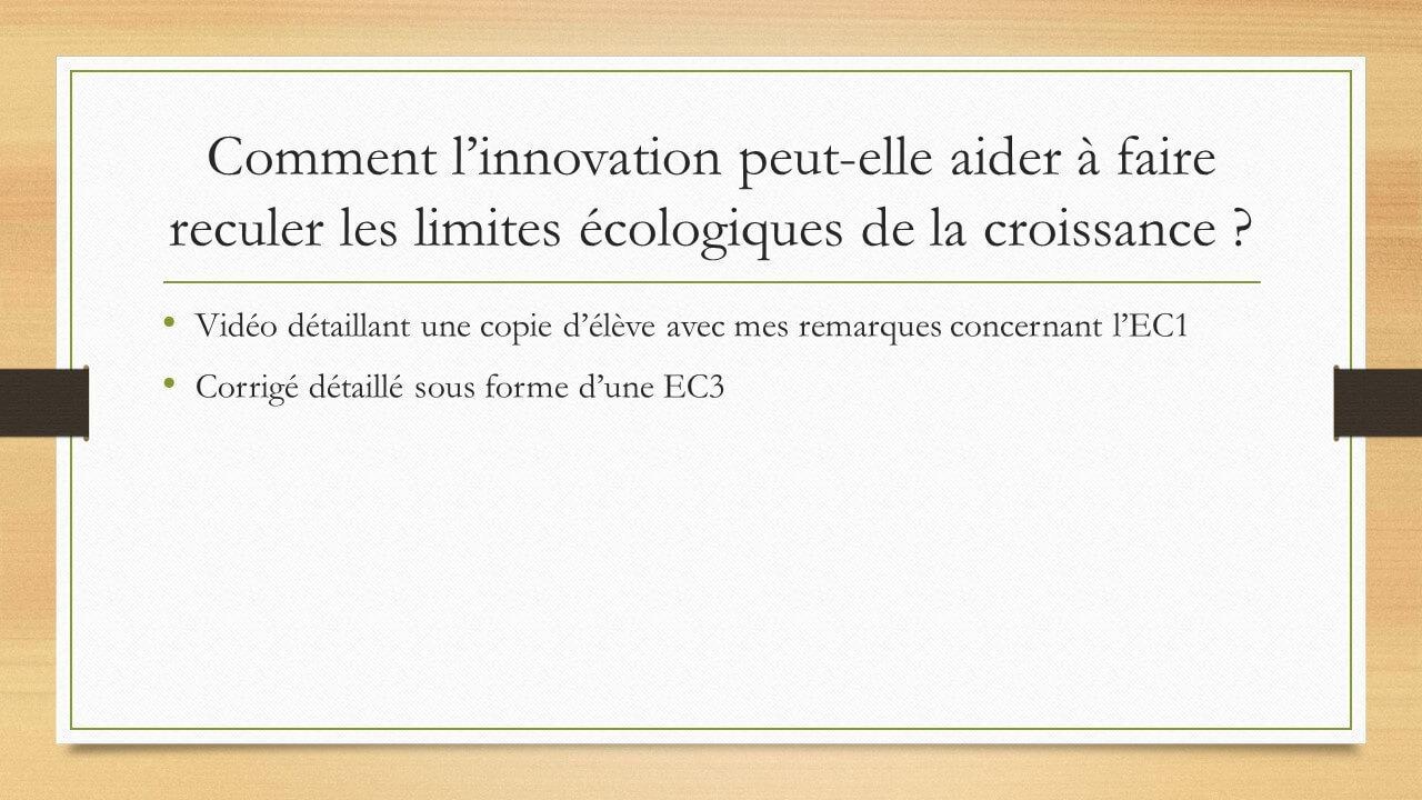 EC1 & EC3 SES Innovation et limites écologiques