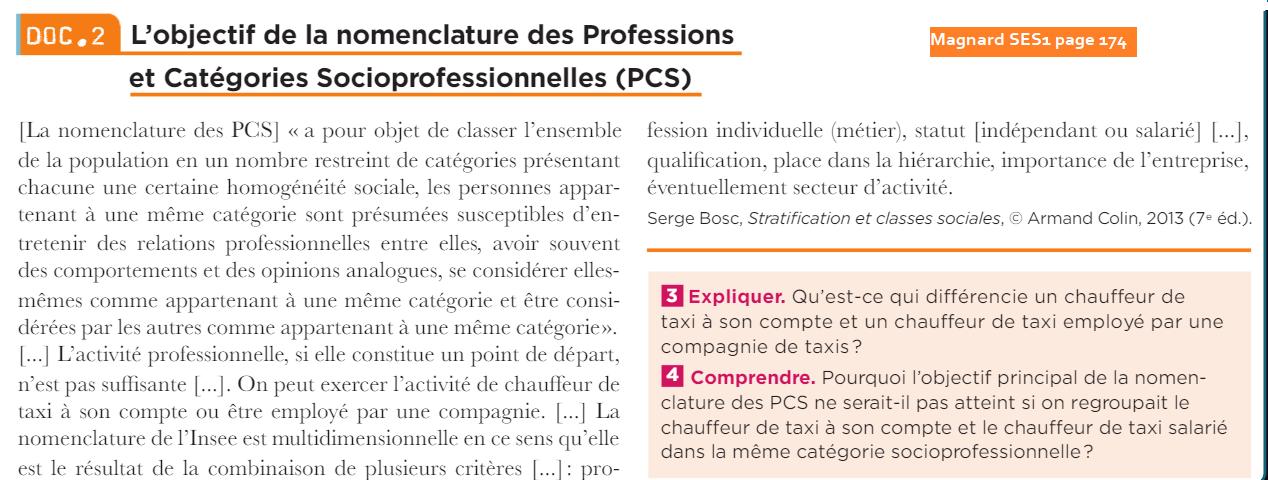 Magnard ses1 doc2 page 174 objectif de la nomenclature des pcs